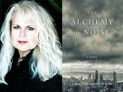 Lorraine Wilke Devon author photo and The Alchemy of Noise cover image