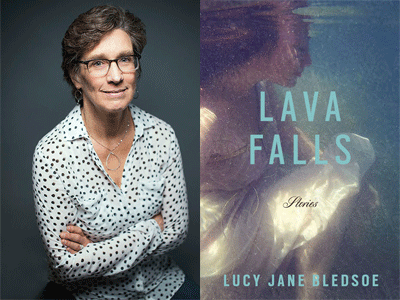 Lucy Jane Bledsoe author photo and Lava Falls cover image