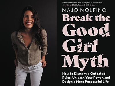 Majo Molfino author photo and Break the Good Girl Myth cover image