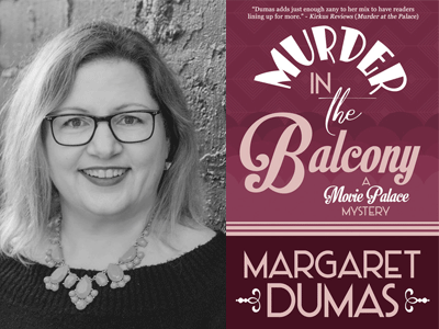 Margaret Dumas author photo and Murder in the Balcony cover image