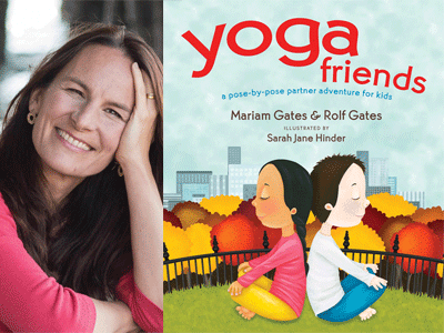 Mariam Gates author photo and Yoga Friends cover image