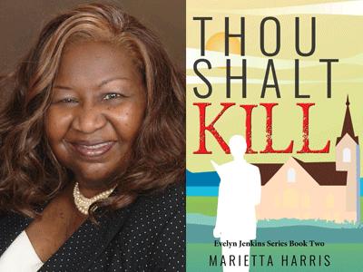 Marietta Harris author photo and Thou Shalt Kill cover image