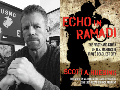 Scott Huesing author photo and Echo in Ramadi cover image