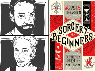 Matt Harry & Julianne Crump author illustrations and Sorcery for Beginners cover image