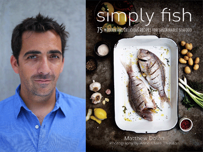 Matthew Dolan author photo and Simply Fish cover image