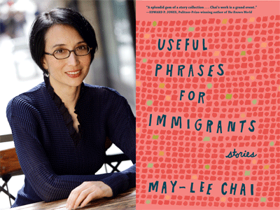 May-Lee Chai author photo and Useful Phrases for Immigrants cover image