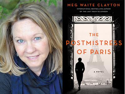 Meg Waite Clayton author photo and The Postmistress of Paris cover image