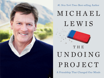 Michael Lewis author photo and The Undoing Project cover image