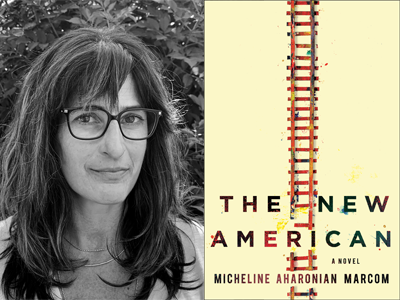 Micheline Marcom author photo and The New American cover image
