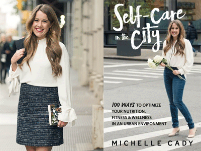 Michelle Cady author photo and Self-Care City cover image