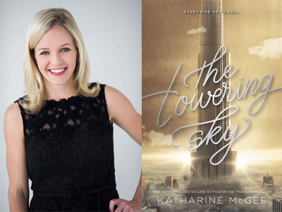 Katharine McGee author photo and The Towering Sky cover image