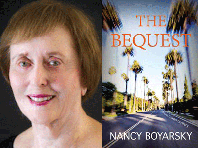 Nancy Boyarsky author photo and The Bequest cover image