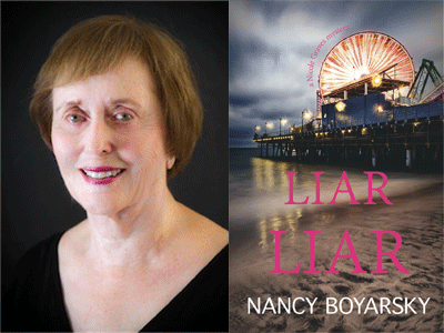 Nancy Boyarsky author photo and Liar Liar cover image