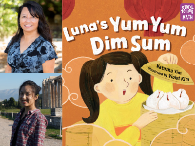 Natasha Yim and Violet Kim author photos and Luna's Yum Yum Dim Sum cover image