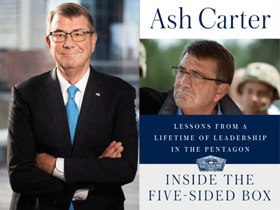 Ash Carter author photo and Inside the Five-Sided Box cover image