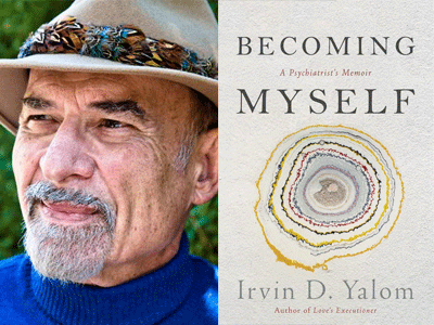 Irvin D Yalom author photo and Becoming Myself cover image
