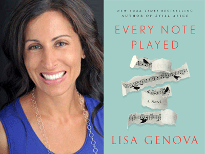 Lisa Genova author photo and Every Note Played cover image