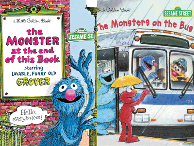 The Monster at the End of This Book and The Monsters on the Bus cropped cover images