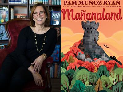 Pam Munoz Ryan author photo and Mananaland cover image
