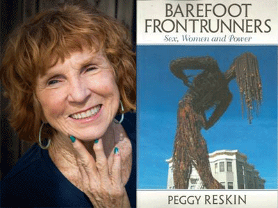Peggy Reskin author photo and Barefoot Frontrunners cover image