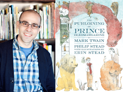 Philip Stead author photo and The Purloining Prince cover image