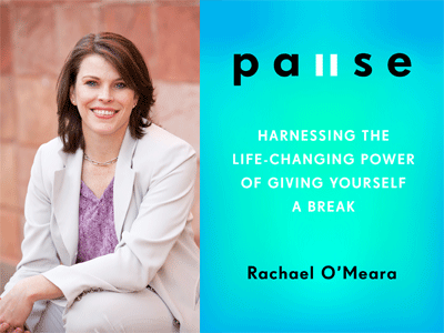 Rachel O'Meara author photo and Pause cover image