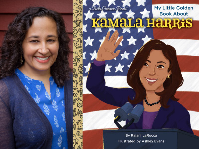 Rajani LaRocca author photo and My Little Golden Book About Kamala Harris cover image