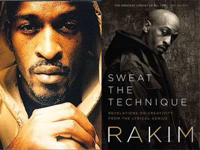 Rakim author photo and Sweat the Technique cover image