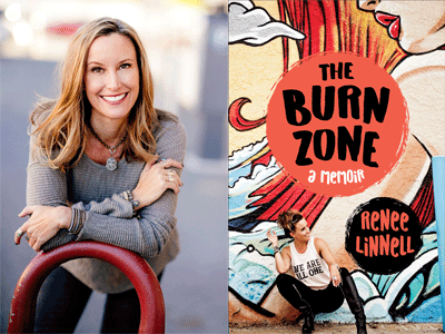 Renee Linnell author photo and The Burn Zone cover image