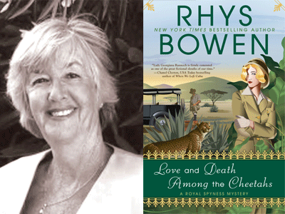 Rhys Bowen author photo and Love and Death Among the Cheetahs cover image
