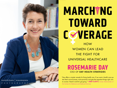 Rosemarie Day author photo and Marching Toward Coverage cover image