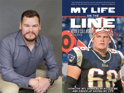 Ryan O'Callaghan author photo and My Life on the Line cover image