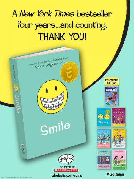 Congratulations to Raina Telgemeier for 4 Years on the NYTimes Bestseller List with link
