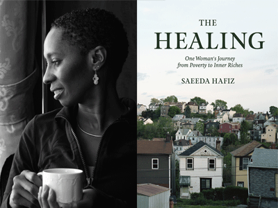 Saeeda Hafiz author photo and The Healing cover image