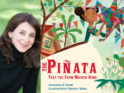 Samantha R. Vamos author photo and The Pinata That the Farm Maiden Hang cover image