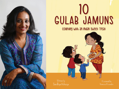 Sandhya Acharya author photo and 10 Gulab Jamuns cover image