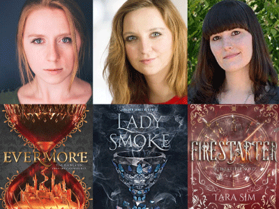 Author photos and cropped cover imags for Sara Holland, lauren Sebastian, and Tara Sim