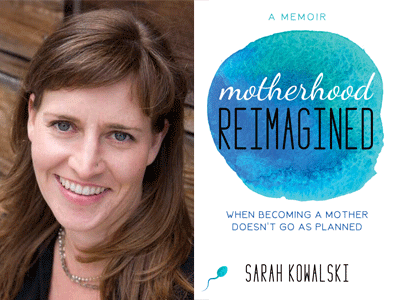 Sarah Kowolski author photo and Motherhood Reimagined cover image