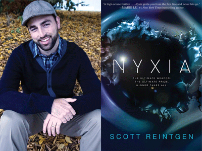 Scott Reintgen author photo and Nyxia cover image