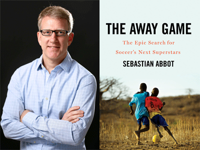 Sebastian Abbot author photo and The Away Game cover image