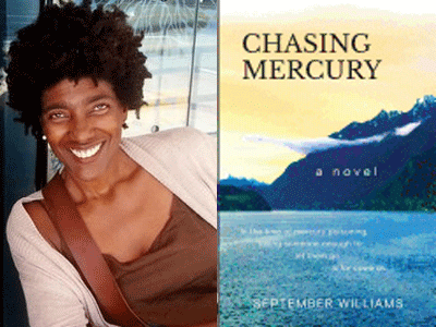 September Williams author photo and Chasing Mercury cover image