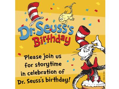 Dr. Seuss's Birthday Storytime banner
