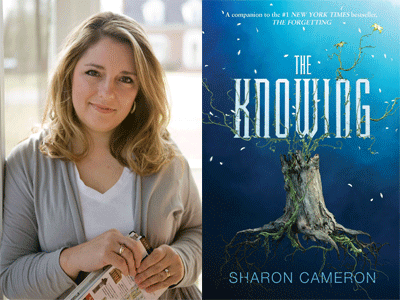 Sharon Cameron author photo and The Knowing cover image