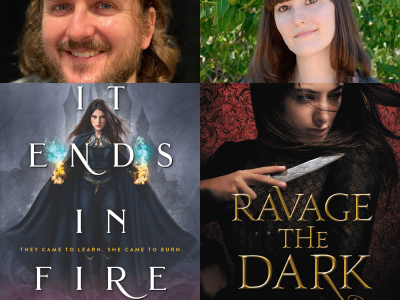Andrew Shvarts and Tara Sim author photos and cropped covers of It Ends In Fire and Ravage the Dark