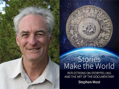 Stephen Most author photo and Stories Make the World cover image