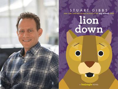 Stuart Gibbs author photo and Lion Down cover image
