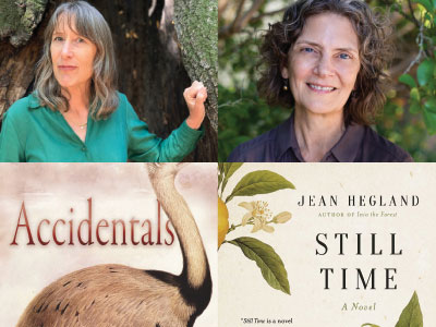 cropped author and cover images for Susan Gaines and Jean Hegland