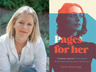 Sylvia Brownrigg author photo and Pages for Her cover image