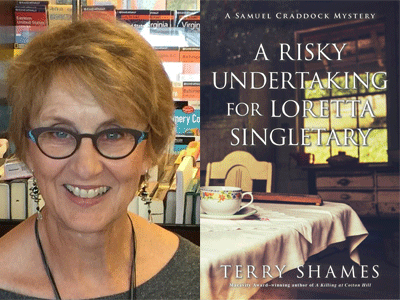 Terry Shames author photo and A Risky Undertaking cover image