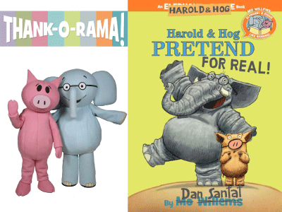 Elephant & Piggie costumed characters and Harold & Hog Pretend for Real cover image